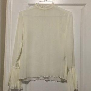 Crinkled long sleeve blouse
